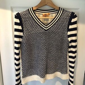 Tory Burch navy and cream knit sweater